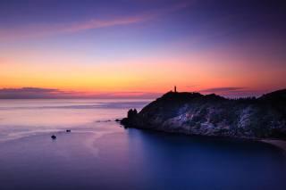 закат, маяк, природа