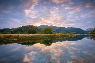 гора, озеро, природа, небо, деревья, синий