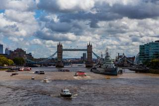 the bridge, ships, Речные суда, England, tower bridge, London, the city