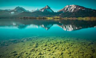 mountains, the lake, stones, under water, nature