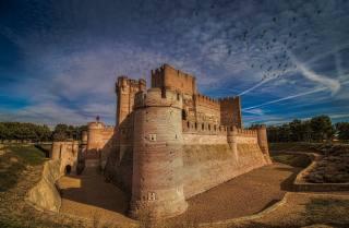 Spain, the sky, castle, a flock of birds