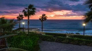 sea, trees, landscape, the city, palm trees, shore, evening, lights, Spain, promenade, Andalucia, Мохакар