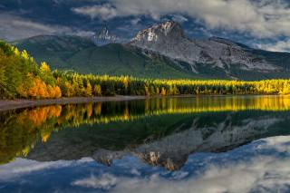 autumn, landscape, Perry Hoag, Canada, morning, forest, the lake, reflection, mountains