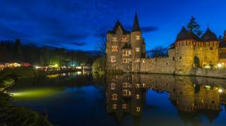 castle, evening, the pond, Germany, Burg Satzvey Mechernich, the city