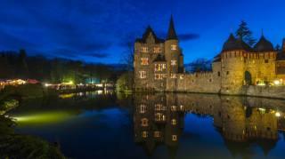 hrad, večer, rybník, Německo, Burg Satzvey Mechernich, město