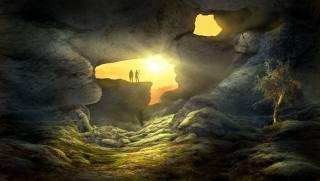 фантазия, пейзаж, пещера, художника, произведения искусства