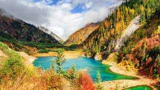 autumn, mountains, the lake, China, Цзючжайгоу, Park, landscape, Sichuan province, nature