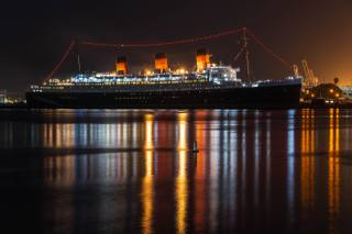 USA, Pier, ship, cruise, Liner, queen mary, in Long Beach, California, Bay, night, the city