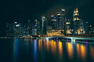architektura, Asie, město, noc, světla, záliv