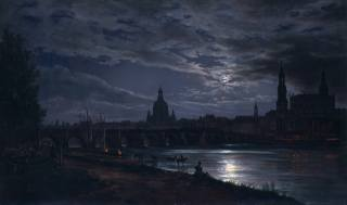 Johan Christian Dahl, Юхан Кристиан Даль, Вид Дрездена в полнолуние, Норвежский живописец, картина, река, ночь, луна, дома