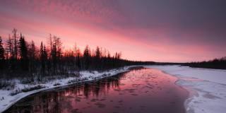 зима, река, закат, деревья, красиво