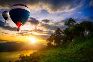 the sun, clouds, landscape, sunset, nature, the lake, balloons, evening, Thailand