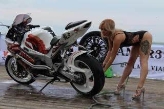 girl, blonde, white, the bike, motorcycle, AIRBRUSH