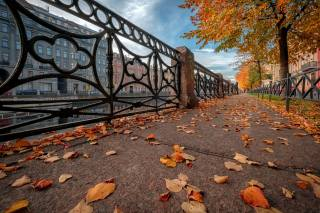 autumn, leaves, the city, river, street, home, Peter, sink, St. Petersburg, the sidewalk, Андрей Чиж