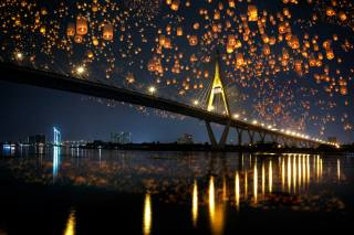 the city, the bridge, reflection, river, shore, building, lighting, Thailand, lanterns, the festival