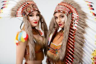 Vitaly Rychkov, the Indians, beautiful, two, view, girls