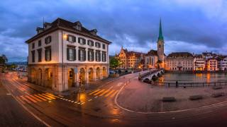 road, the city, river, building, home, evening, Switzerland, lighting, area, the Church, Zurich