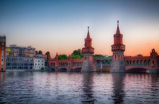 Germany, the city, Berlin, building, river, the bridge, башенки