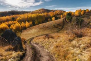 Paul, Kalinenko, nature, landscape, Altai, hills, meadows, Forest, autumn, stones, boulders, road