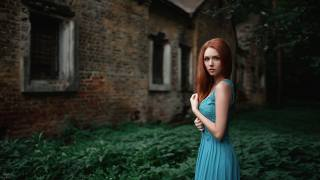 grass, girl, blue, foliage, the building, portrait, dress, red, beautiful, beauty, abandoned, bokeh