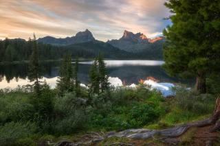 лето, пейзаж, закат, горы, природа, парк, холмы, заповедник, Ергаки, Виктор Зайцев, Западный Саян, озеро Светлое