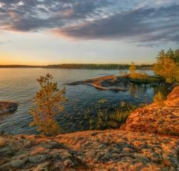 podzim, les, stromy, krajina, západ slunce, příroda, jezero, kameny, pobřeží, Karelia jezero, karelia, ladoga, Владимир Рябков, шхеры