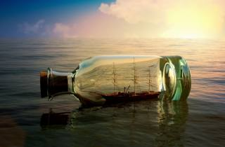 láhev, loď, západ slunce