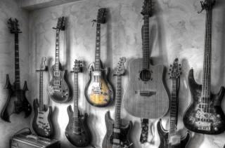 guitar, wall, Black, white, music
