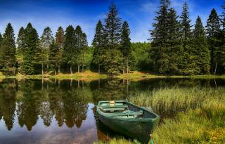 nature, landscape, Hilda Murray, river, shore, boat