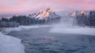 снег, горы, река
