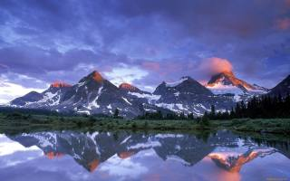 mountains, the sky, clouds, the lake, surface, reflection