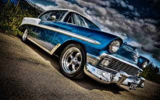 Chevrolet, Bel Air, parking, 1958, Cars, HDR, Retro