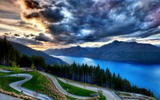 nature, landscape, озеро бирюза.деревья, mountains, clouds, .закат дорога
