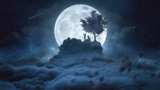 the moon, art, fantasy, children