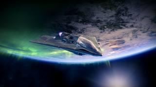 космический корабль, Северное Сияние, Aurora borealis, пейзаж, земля, Галактика