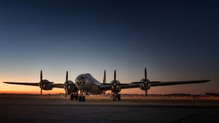 b-29, the plane, the airfield, morning