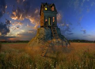 поле, скеля, будинок, небо, фотошоп
