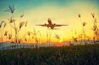 letadlo, tráva, vzestup, slunce, letectví, příroda