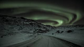 север, дорога, горы, сияние, полярное