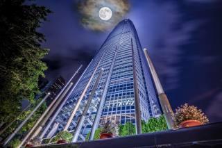 skyscraper, the moon, view