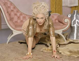 madonna, blonde, view, neckline, hands