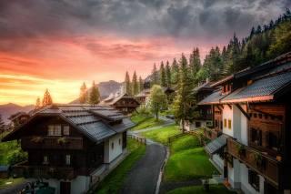 Австрия, горы, утро, дома, Carinthia, облака, природа