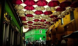 umbrellas, roof, street, the city, landscape