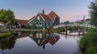 нидерланды, мост, дома, Zaandam, Noord-Holland, водный канал