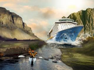 mountains, Liner, cruise, girl, kayak, photoshop