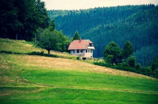 the house, meadow, mountains