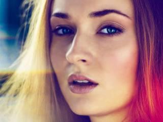 holka, portrét, pohled, vlasy, rty, obličej, herečka, Софи Тёрнер