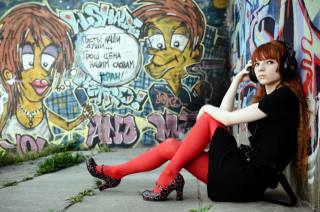 Graffiti, red, headphones, sitting, hands, feet, shoes, tights
