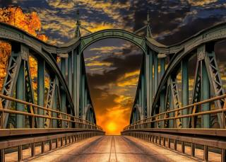 the bridge, the sky, sunset