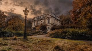 lantern, the house, cloudy, landscape